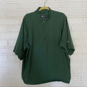 Green Adidas Athletic Climaproof Wind Shirt.